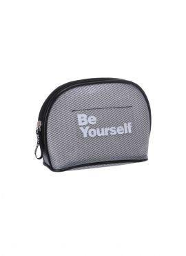 Grid Semicircle Cosmetic Bag