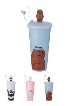 We Bare Bears- Water Bottle with Straw (Type A)