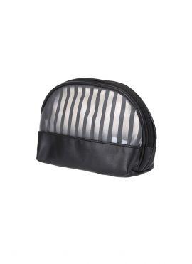 Striped Semicircle Cosmetic Bag