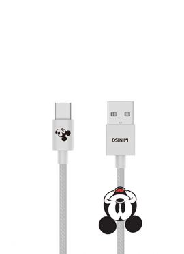 Mickey Mouse Collection 1m Woven Type-c Data Cable (Grey)