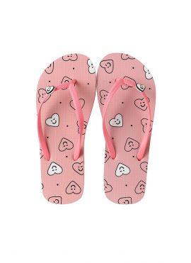 Love and Peace Series Women's Flip Flops (Pink Heart)