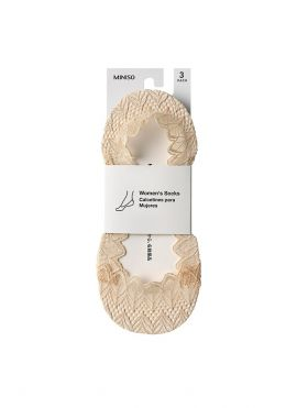 Wavy Lace No-Show Socks for Women (3 Pairs)